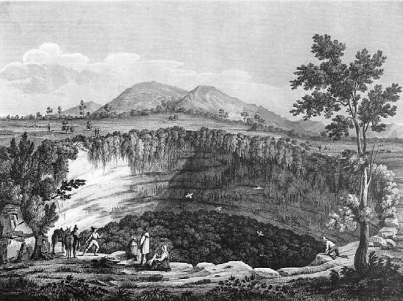Il Pozzo d'Antullo o Santullo, presso Collepardo (Ciociaria), da un'incisione di rame del 1876, di Bossi e Rossini