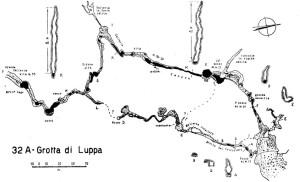 Primo rilievo della Grotta di Luppa pubblicato nell'opera di Segre