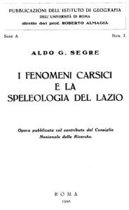 segre, I fenomeni carsici e la speleologia del Lazio