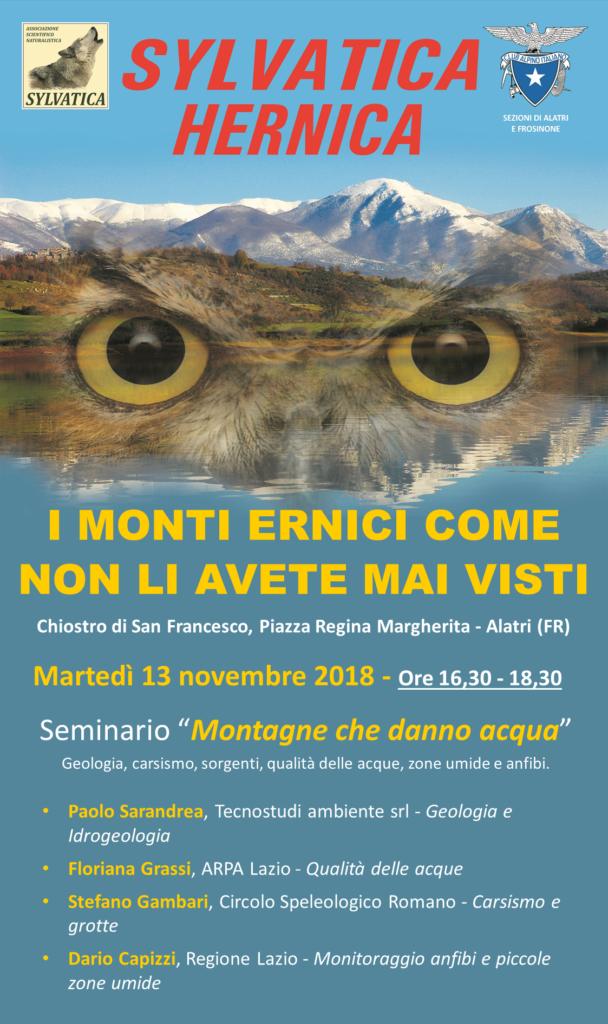 Sylvatica Hernica - Locandina Seminario Acqua - 13 novembre